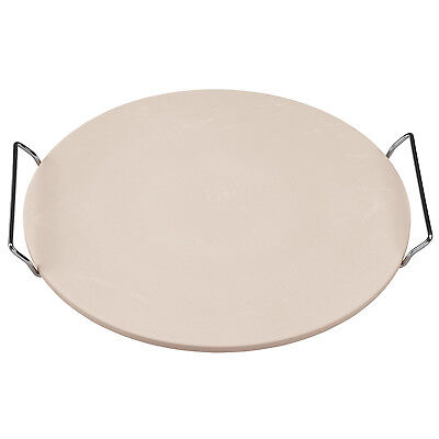 Ceramic Pizza Baking Stone 15 Round Inches Large with Heavy Duty Chrome Rack