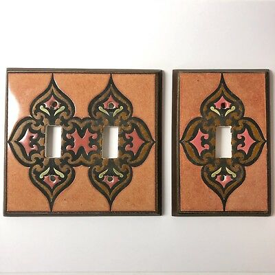 Handmade Ceramic Switch Plates / Covers Double Single, Orange Brown Red Designs