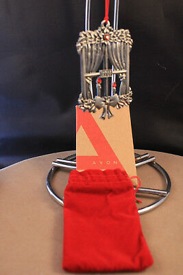 Avon 2008 Window with Candles Christmas Ornament Pewter