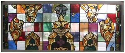 Architectural Salvage Stained Glass 1890's Glass, Contemp Backgr, Deliv Possible