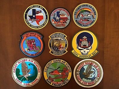 Lot of Nine United States U.S. Coast Guard Air & Rescue Naval Station Patches