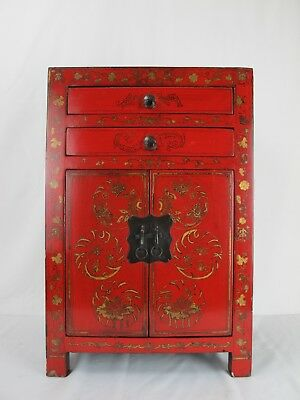 A Chinese Antique Red Lacquer Flower butterfly paint style 2 door closet