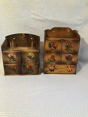 F3  Vintage Hanging Wooden Sewing Notions Box Cabinet Labeled Drawers Storage