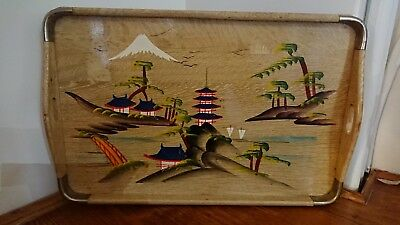Mid Century Retro Hand Painted bamboo Tray. Japanese 🏯?