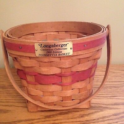 Longaberger 1988 Edition Christmas Holiday Collection Red POINSETTIA Basket