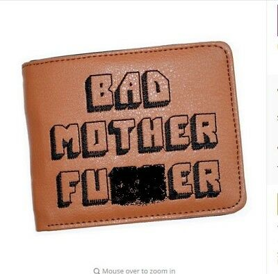 Bad Mother Fu**ker Wallet with zipper Coin Pocket New Brown Embroidered