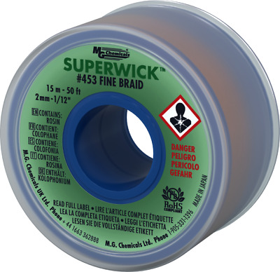 """MG Chemicals 453 (#3) 50 Foot Roll 0.080"""" (2.0mm) Fine Braid Solder Wick"""