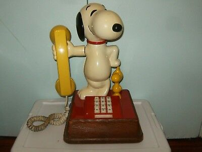 Vintage Original Peanuts Snoopy & Woodstock Push Button Phone, Works, Preowned