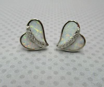 White Lab Opal Heart Earrings 925 Sterling Silver & Clear CZ Large Posts Studs