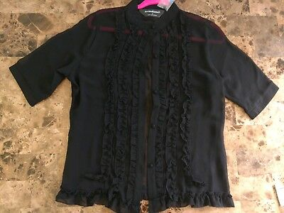f7fe06ab NORMA KAMALI LARGE L Black Sheer Ruffle Blouse Top Button Down Short ...
