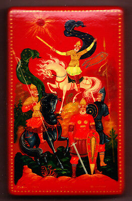 Red Palekh Box with Icon/Ikon of Prince Igor - from Russia 1975