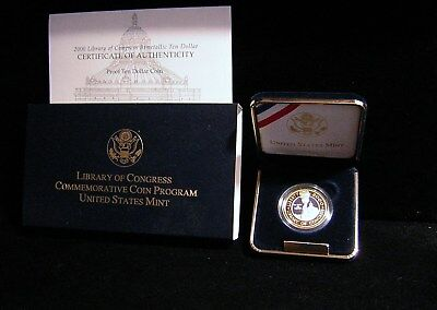 2000-W Library Of Congress Bimetalic $10 Proof Coin (*76)