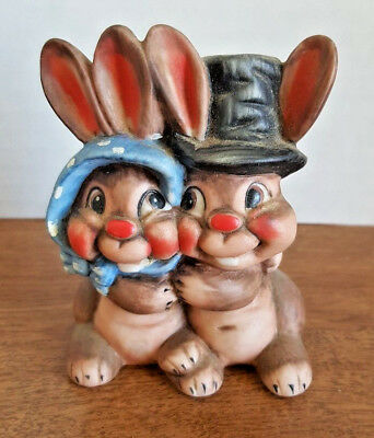 Hugging Boy And Girl Bunnies Ceramic Statue Figurine Adorable Rabbits KnickKnack