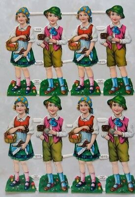 Vintage Embossed Die Cut Thin Paper Boy and Girl German Clothing Time PZB #1215