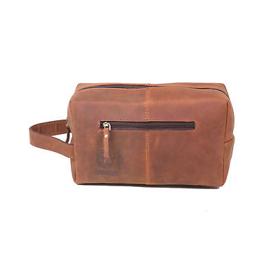 7e024dfd1065 VINTAGE LEATHER TOILETRY Bag Travel Dopp Kit Shaving and Grooming Cosmetic  Kit