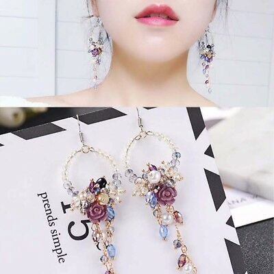 Jewelry Flower Tassel Ear Stud Rhinestone Long Dangle Drop Fringed Earrings