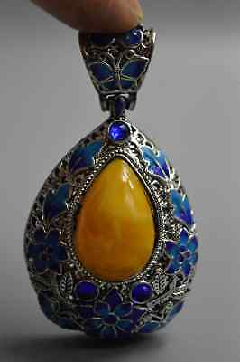 Collectable Miao Silver Inlay Amber Carve Flower Ancient Old Art Tibet Pendant