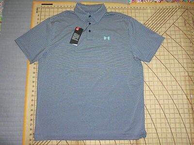 0324c7f6 UNDER ARMOUR GRAY Striped Mens Polo Shirt Loose Fit Size M Medium ...