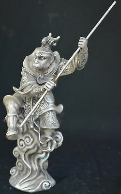 9.15Inch Chinese Ancient Tibet Silver Wear Robe Monkey King Gold Hoop Old Statue