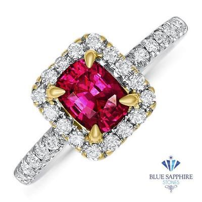 1.11ct Cushion Natural Ruby Ring with Diamond Halo in 18K White Gold