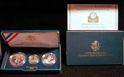 Us Mint1992 Columbus 500Years Gold, Silver & Clad 3 Coin Set Orig.pkg (*77)