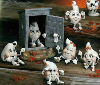 Ceramic Bisque Hand-Painted (8) Ghost Noggins With Hands & Feet With Outhouse
