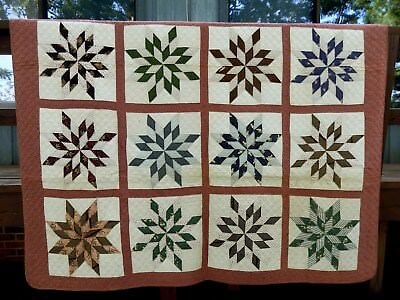 MID-LATE 1800's BLAZING STAR QUILT   - GREAT PIECING, QUILTING, PERIOD FABRICS