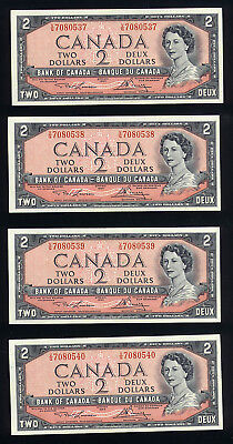 Canada 1954 $2.00  BC-38d Lawson-Bouey V/G7080537-540 4 consécutive notes UNC.