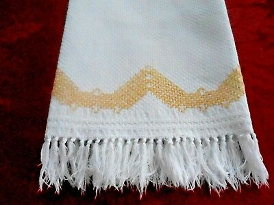 White  Huck Towel With A Fringe And Yellow Huck Hand Embroidery, Circa 1930