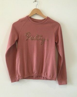 Girl's size 12 Pretty jumper, dusky pink, sequin front, brand new with tags