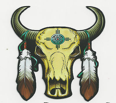 SKULL of BUFFALO WITH FEATHERS - STICKER