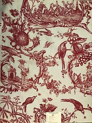 "Rare Vintage Schumacher Colonial  Williamsburg  "" Carolina Toile"", Document Red"