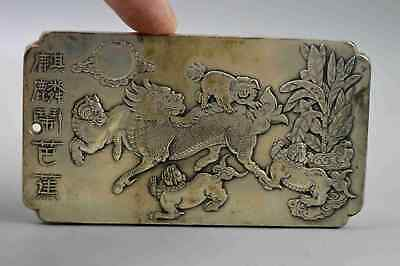 Collectable Ancient Handwork Old Miao Silver Carve Kylin Dance Exorcism Pendant