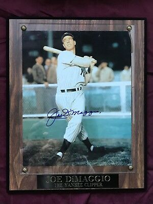 Joe DiMaggio Autographed Plaque The Yankee Clipper w/COA