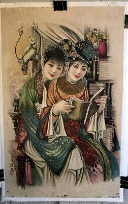 "VINTAGE ORIGINAL CHINESE ADVERTISING 1920's POSTER on LINEN 20"" x 31"" 2 WOMEN FN"