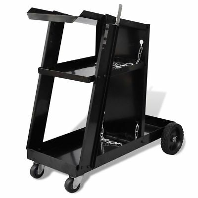 Welding Cart Black Trolley with 3 Shelves Workshop Organiser Q7K7