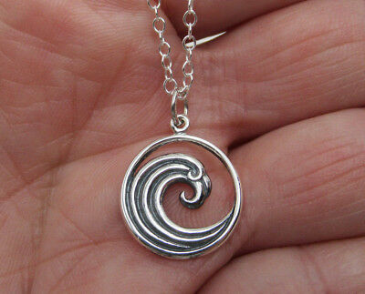 Curled Ocean Wave Necklace 925 Sterling Silver Beach & Nautical Pendant Jewelry