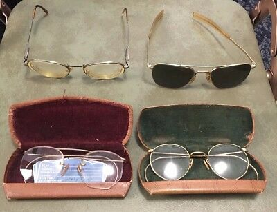 Vintage Lot Of Glasses 4 Pairs GF Polo and American Optical 5 1/2 Aviator Sun