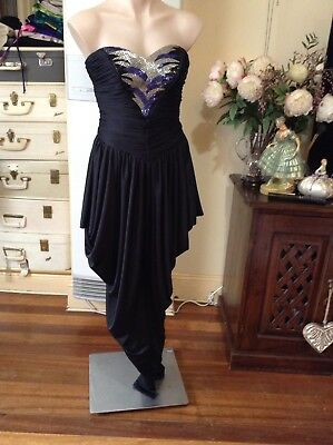 Vintage Black Jumpsuit Strapless Front Sequins Tapered Leg Gathered Fabric
