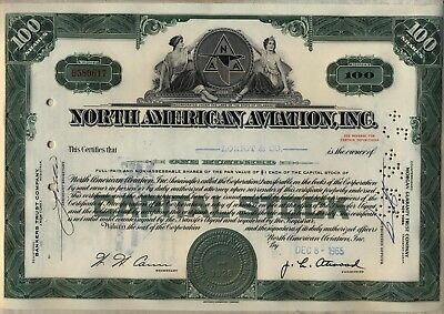 North American Aviation, Inc. Stock Certificate Boeing