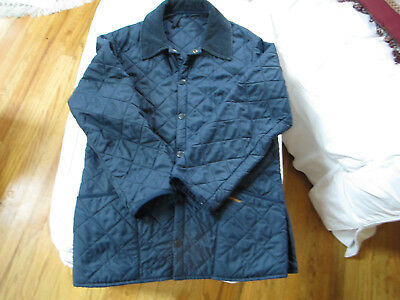 "Barbour Men's Navy Blue quilted Jacket. 44"" Chest, Snap Closure.Good Condition."