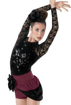 Dance Costume Small Adult Burgundy Shorts Skirt Lace Solo Competition Pageant