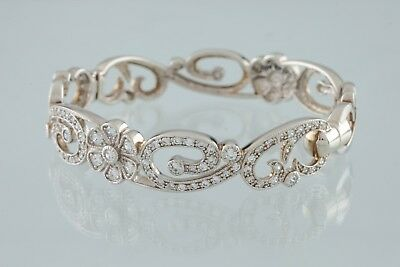 Gorgeous Sterling Silver Floral CZ Bangle Bracelet by Joseph Esposito