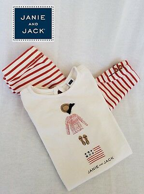 Janie and Jack Girl's Americana Charm Tee Top & Red Stripe Ponte Pant Set Size 3