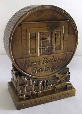 Vintage 70's Banthrico Metal Building Gary Indiana First Federal Savings Bank