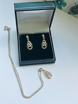 Gorgeous Sterling Silver 925 Celtic Necklace and Pierced Earrings Boxed