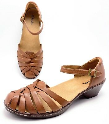1b59c5275341 Clarks Womens 8.5M Brown Woven Leather Closed Toe Ankle Strap Sandals Shoes