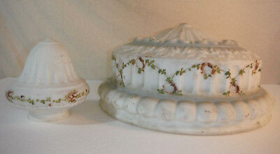 Art Deco Antique Frosted Floral Milk Glass Ceiling Mount & Sconce Light Shade