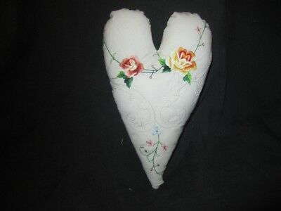 Primitive    Heart Pillow - vintage linen - stitched flowers - Valentine