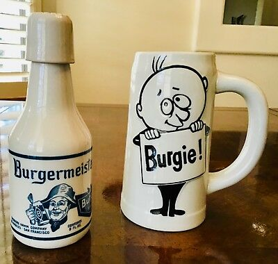 Vintage Burgermeister ceramic beer bottle & mug